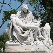 Famous grave stone white marble pieta statues virgin and Jesus sculpture