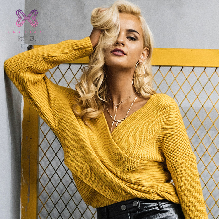Latest design women plus size clothing knitted cashmere ladies fashion knit tops sweater