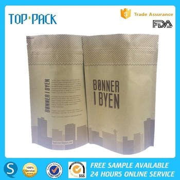 Free samples kraft paper zipper stand up pouch for coffee with valve