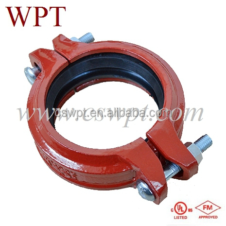 FM/UL approved ductile iron casting astm a536 grooved flexible coupling