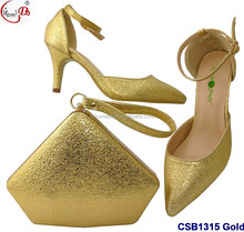 Many stones ornament CSB1315 Gold italian lady christmas shoes and bag set party wedding shoes and bag set