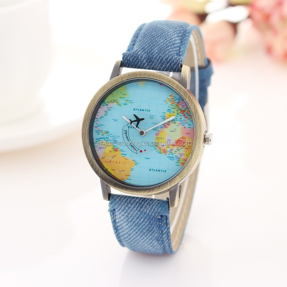 2016 Fashion Originality Map of The World Watches With Denim Brown Copper Watch Wholesale