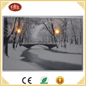 LED & optic fiber park snow scene led canvas pictures canvas picture with led light