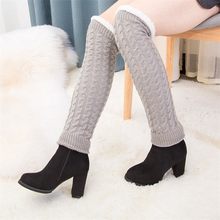 Women Leg Warmers Soft Knitted Crochet Long Socks Boot Cuffs