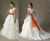 WD0162 taffeta scoope neckline trimmed by lace and crystals cap sleeve gathered ball skirt chubby wedding dress