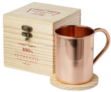 Moscow Mule 100% Pure Copper Mug 16 Ounce with Wooden Gift Box and Coaster for Copper Cup