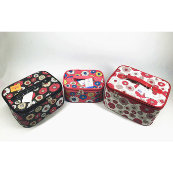 2018 hot PVC flower printed huge capacity 3 pieces cosmetic case set for women