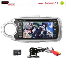 LPYFRG C600 android 7.1 car gps dvd player for toyota yaris 2012 2013 with audio a/v sytem 2GB RAM dab+ rds car stereo