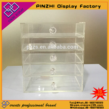 Fashion cosmetic 6 tiers flip top design wholesale acrylic clear cube makeup organizer with 5 drawers