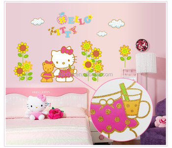 Hello kitty Gilitter dress up wall sticker