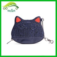 Euro coin purse key purse leather animal purse cat face coin purse