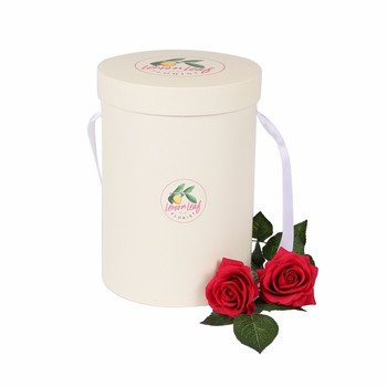 Elegant empty cylinder cardboard box packaging for flower roses