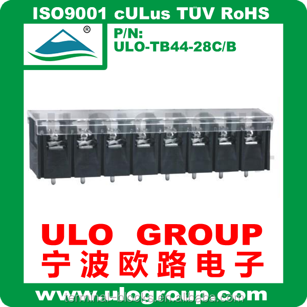 pcb clamp mdf terminal block 1000 v with 7.62mm Pitch Cover Free sample China manufacturer ULO