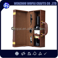 Vintage French style wine presentation box brown pu leather wine box