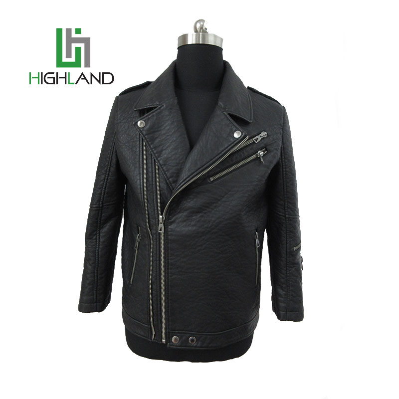 winter motorcycle jacket mens pu leather jackets with metal zip-through front