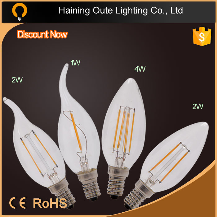 Hot sale 2w 4W clear glass no plastic Dimmable Filament E14 led candle bulb