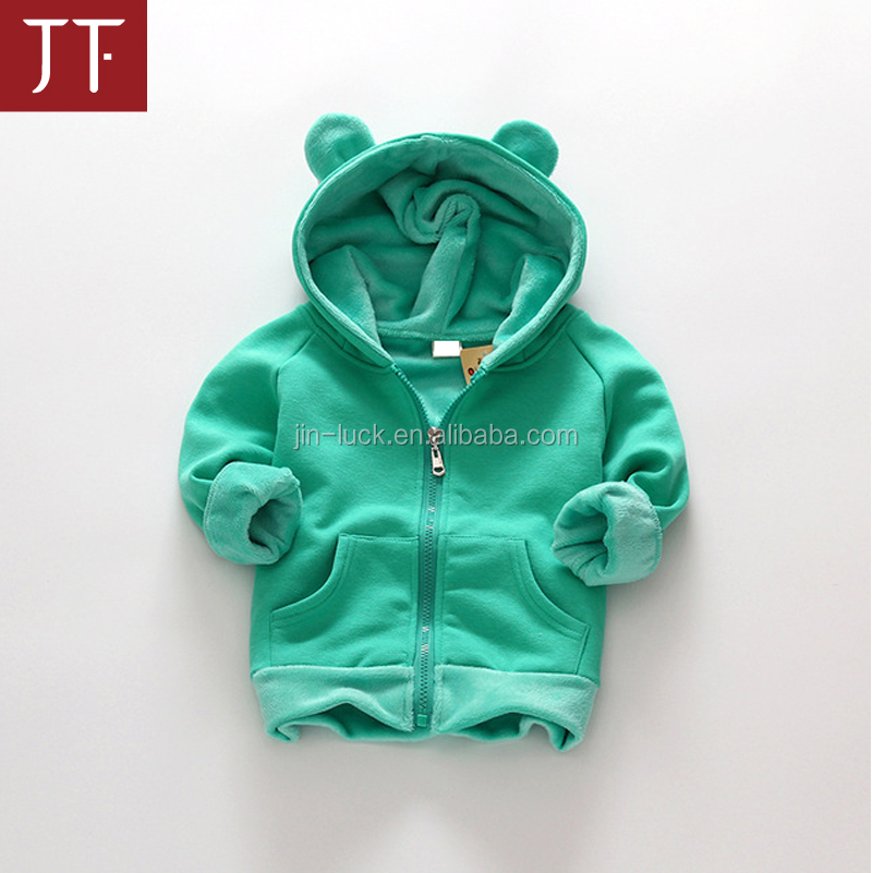OEM velvet winter children jackets cartoon deer girls hoodies outerwear thicken kids coat