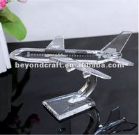 artificial crystal engraved airplane ,crystal glass crafts