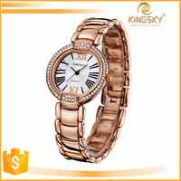 Fashion Rose Gold Watches Stainless Steel back Small Wrist Watch