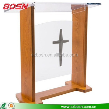 Cheap Price Wood & Acrylic Podium, Optional Cross, Plexiglass/PMMA