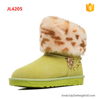 2017 Winter Women Ladies Italian Style Studs Snow Boots with Leopard print