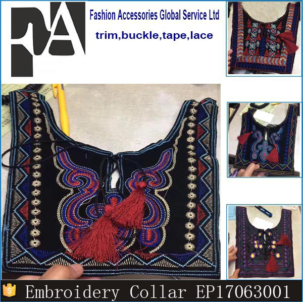 Latest Design Fashion Women National Embroidery Cotton Collar