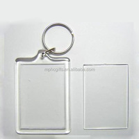 Rectangle Shape Plastic Clear Transparent Blank Photo Insert Acrylic Keychain