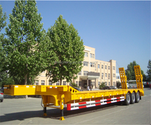 India sale heavy duty transport 75ton tri axles lowbed trailer low price