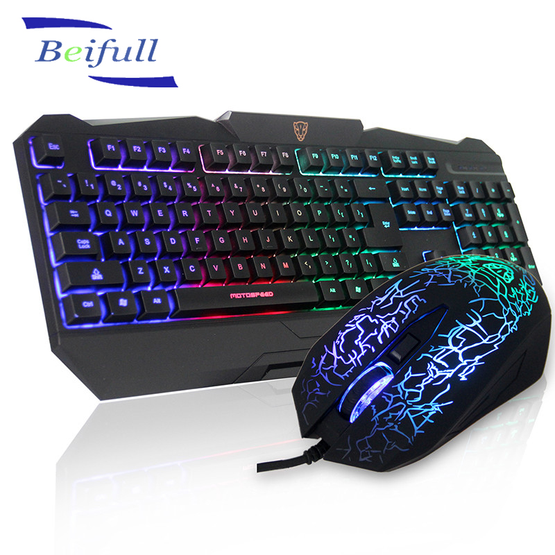 2016 fashion design Colorful backlit gaming keyboard and mouse combo with Skin feeling