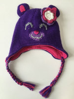 Winter fashion animal shape funny face cat ear knitted hat for ladies and girls