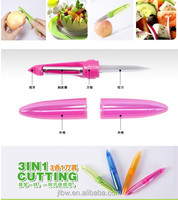 High quality 3in 1 kitchen cutting knife custom logo fruit peeler stainless steel fruit knife