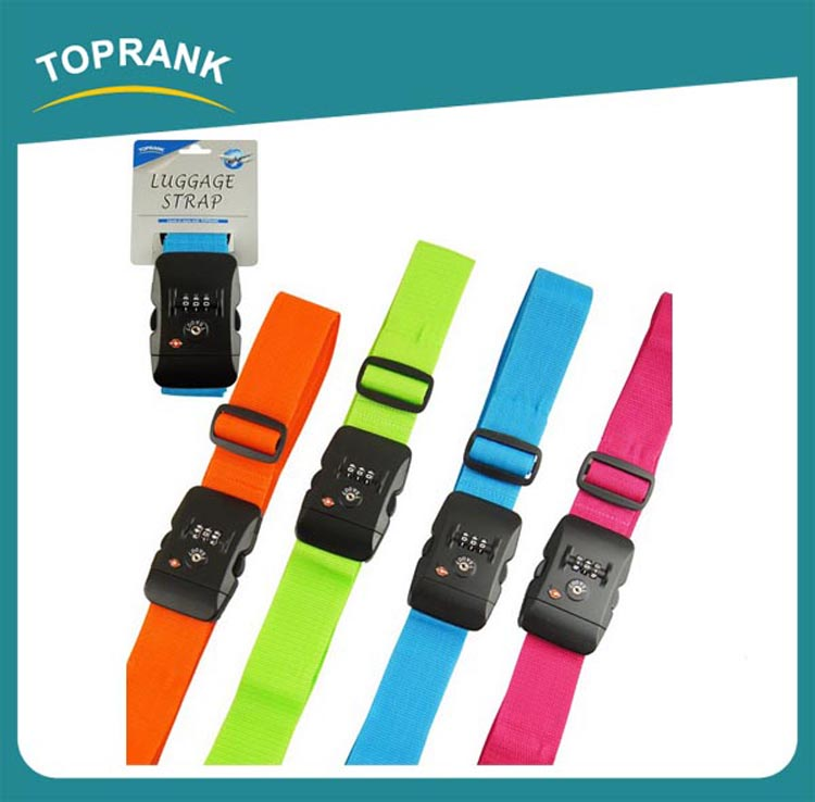 Toprank Hot Selling Wholesale Cheap And Adjustable Tsa Luggage Belt Strap,Polyester Cross Luggage Belt For Suitcase Safe