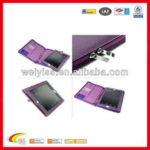 Cross purple leather portfolio/leather cover case for ipad2/3,oem china manufacturers