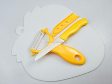 3pcs new design Kitchen tools gift set ceramic knife with chopping board