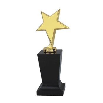 Shuanghua factory wholesale 22CM gold star metal trophies with bases