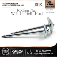 Corrugated umbrella head roofing nails with rubber washer