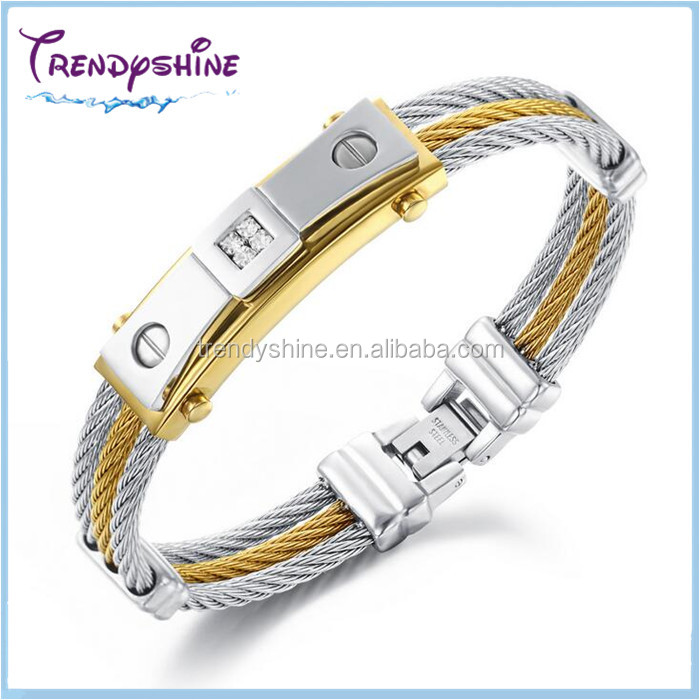 Fashion men's stainless steel cable bracelet prices with <strong>stone</strong>