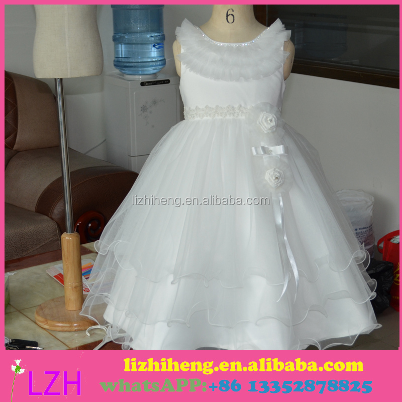 Hot Sale Long Good Quality Organza Lovely Little Queen Cheap Flower Girl Dress Patterns