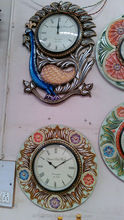 Indian wooden hand craved beautiful flower and peacock shape wall clock/ watch