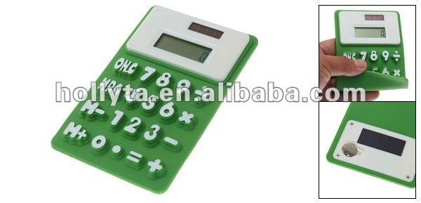 Flexible Silicone Green White Digital Calculator