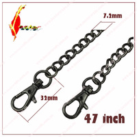 120cm length 7.2mm gunmetal alloy bag chain / high quality metal bags chain with hooks