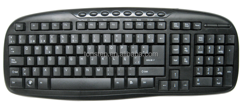 Manufacturer price high quality Wired Multimedia keyboard Laser keycaps, Waterproof 104keys and 8 hotkeys for sale