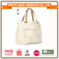 fashion canvas tote bag with leather handle