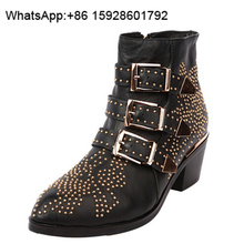 Brand name shoes Ankle Studs Leather Women motorcycle boots OCA8