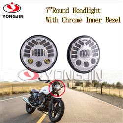 Chromed and black 7 inch motorcycle Adaptive LED Headlights for harley davidson