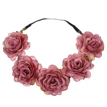 Wholesale custom new design girl flower hairband red flower headband with fabric flower for women