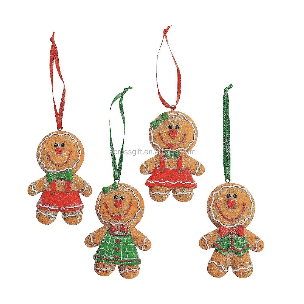 "Adorable Big Head GINGERBREAD Man/Boy/Girl Cookie CHRISTMAS Tree ORNAMENTS/GLITTERY Resin 3.5"" Decorations/HOLIDAY DECOR/CANDY/S"
