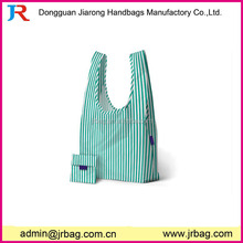 Green and white stripe polyester foldable shopping bag
