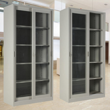 Glass door display steel cabinet with adjustable shelves/Lockable glass door key cabinet