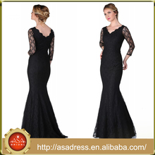 ABI-01 Elegant V-neck Long Sleeves Lace Mother of the Bride Dresses Zipper Back Mermaid Floor Length Long Mother Dress